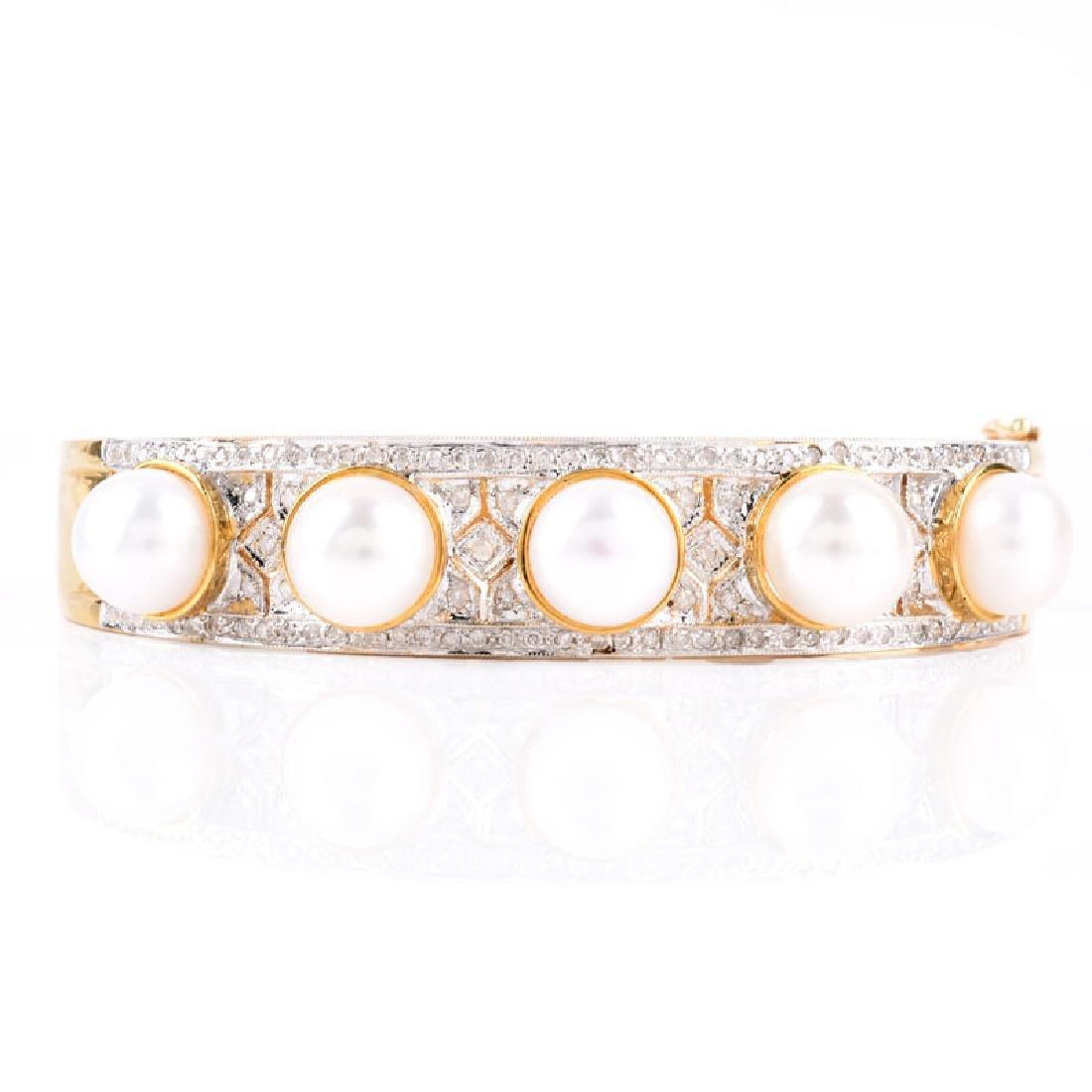 Micro Pave Set Diamond, Pearl and 14 Karat Yellow Gold