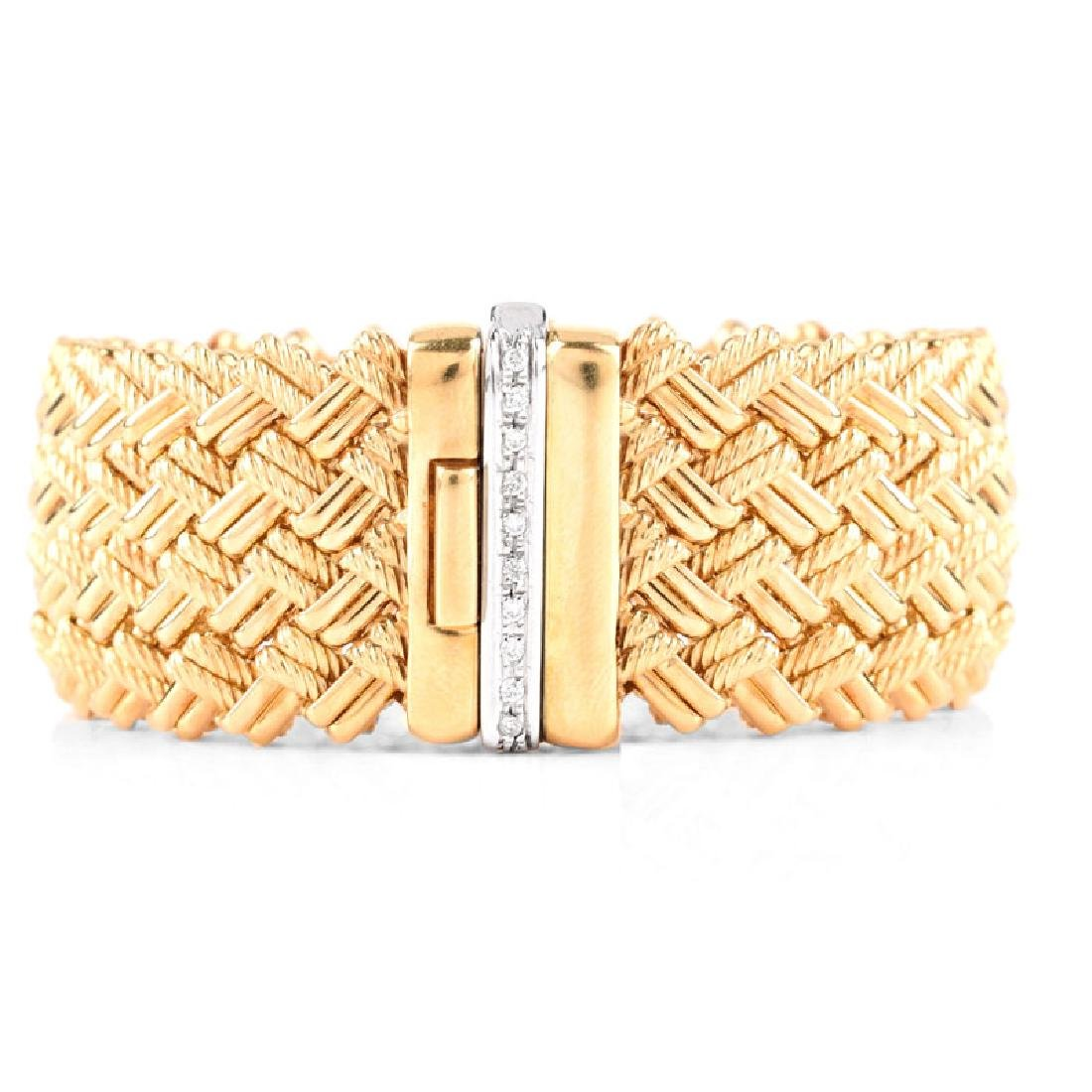 Italian 18 Karat Yellow Gold and Diamond Mesh Link