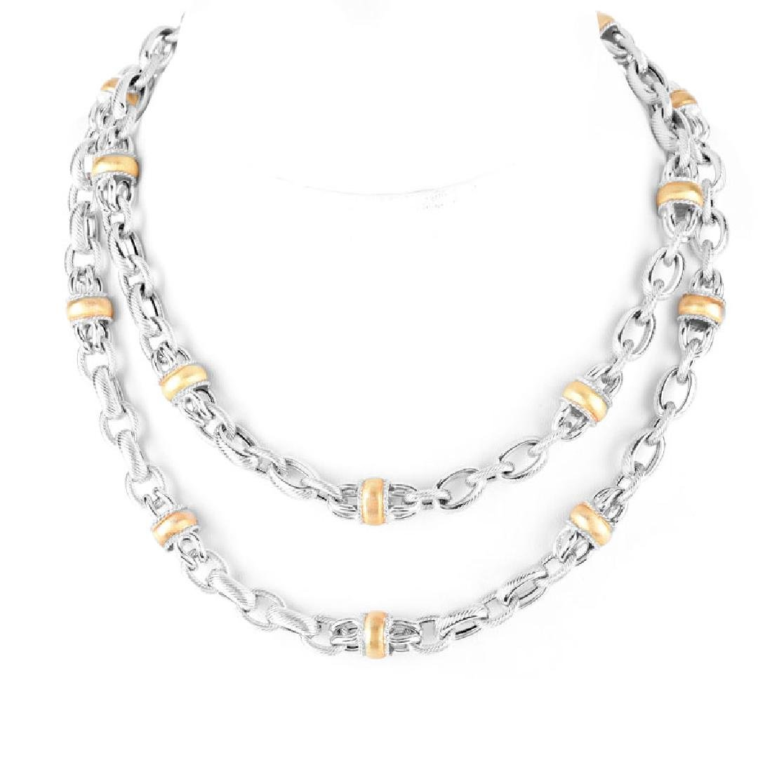 Italian 18 Karat White and Yellow Gold Long Necklace.