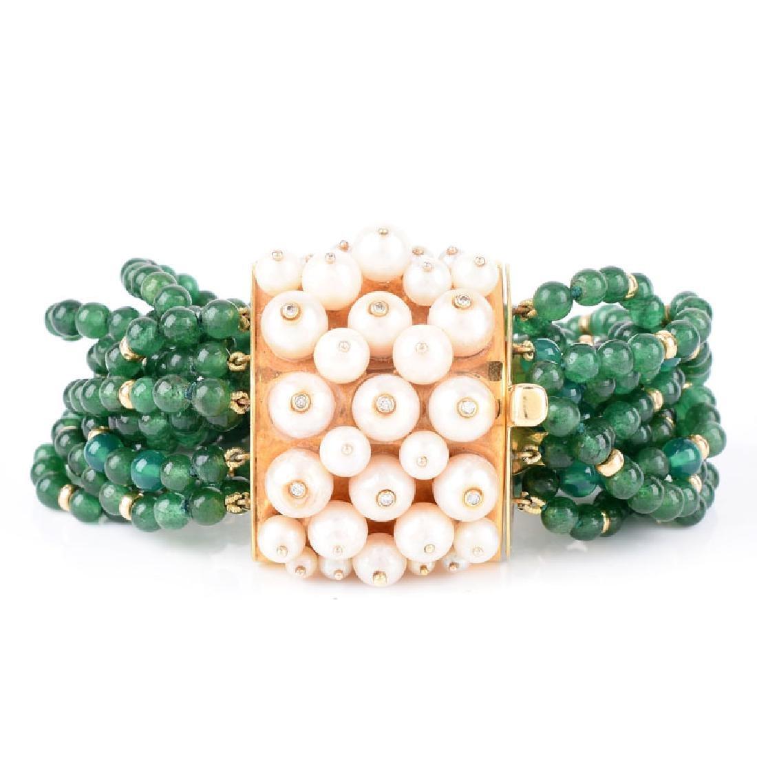 Circa 1950s Multi Strand Emerald Bead, Pearl and 18