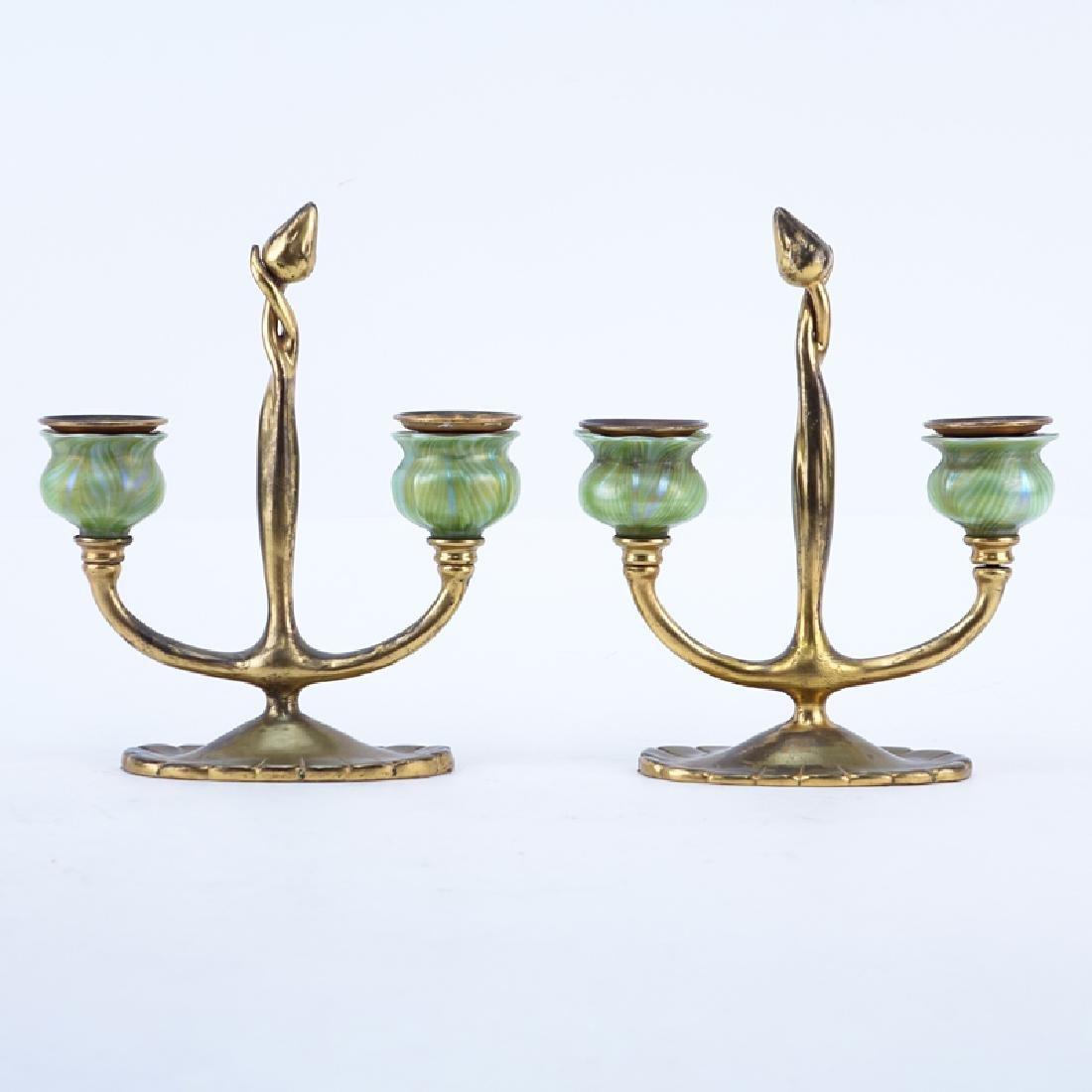 Pair of Tiffany Studios New York, Gilt-Bronze Two Light