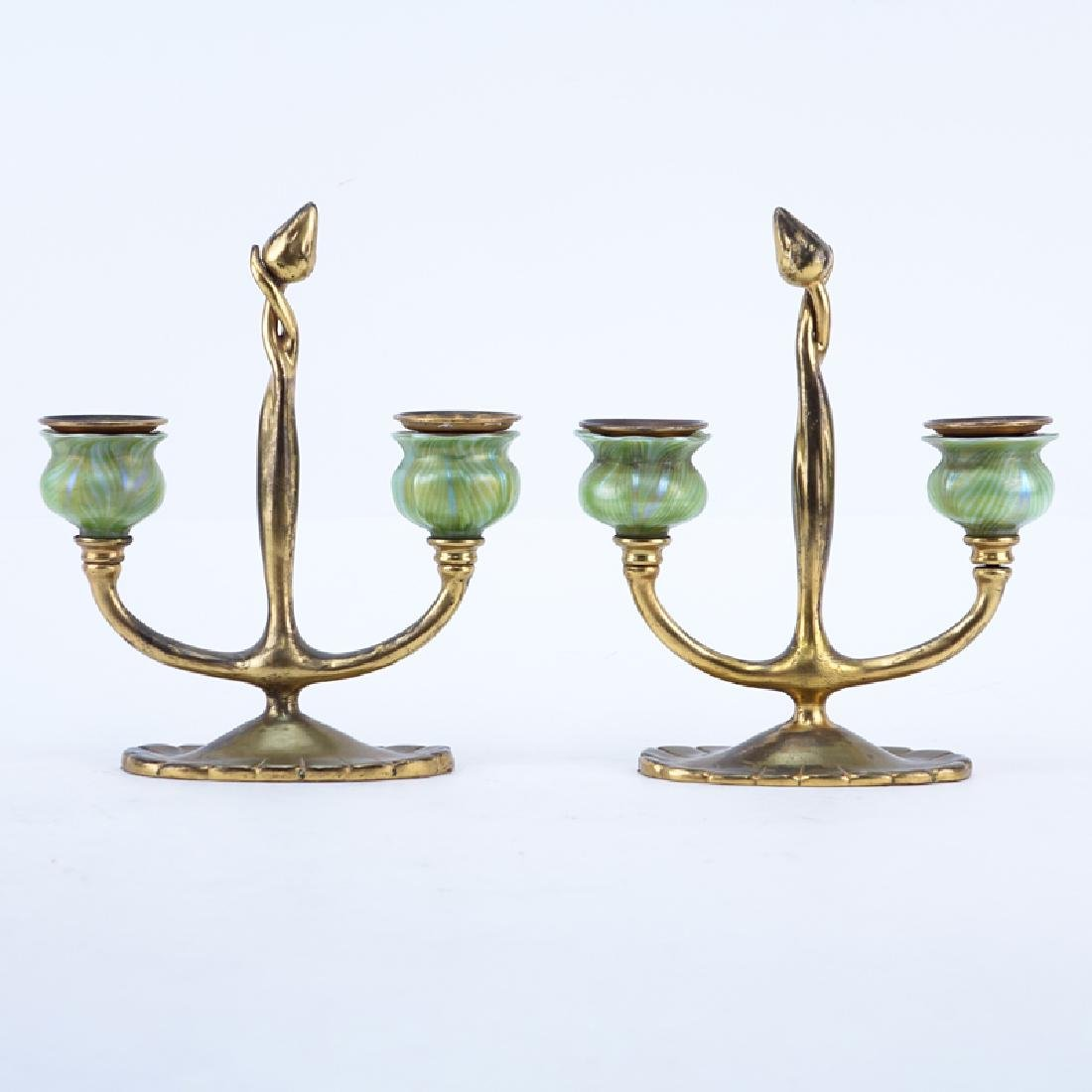 Pair of Tiffany Studios New York, Gilt-Bronze Two Light