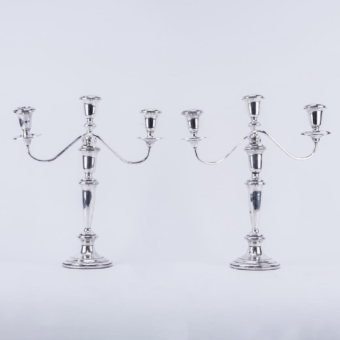 Pair Empire Weighted Sterling 3 Arm Candelabra. Signed.