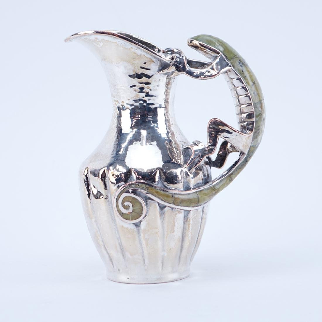 Mexican Silver Plated Pitcher With Inlay Stone Lizard