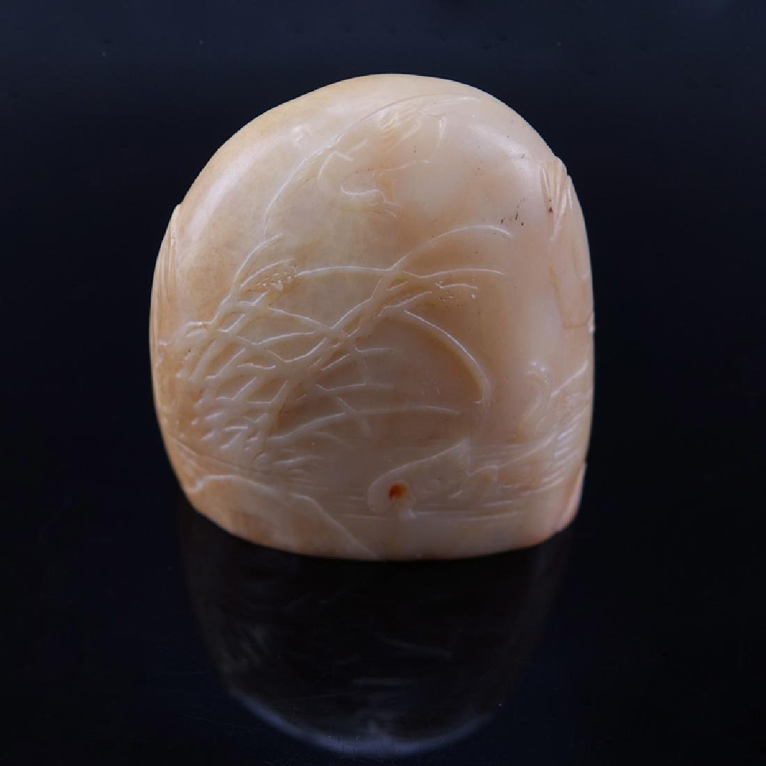Antique Chinese Carved Light Caramel Jade Boulder Seal