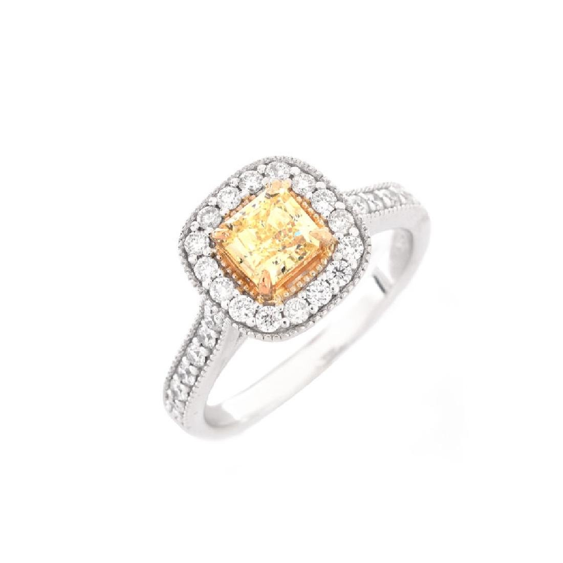 GIA Certified .59 Carat Fancy Yellow Diamond, .65 Carat