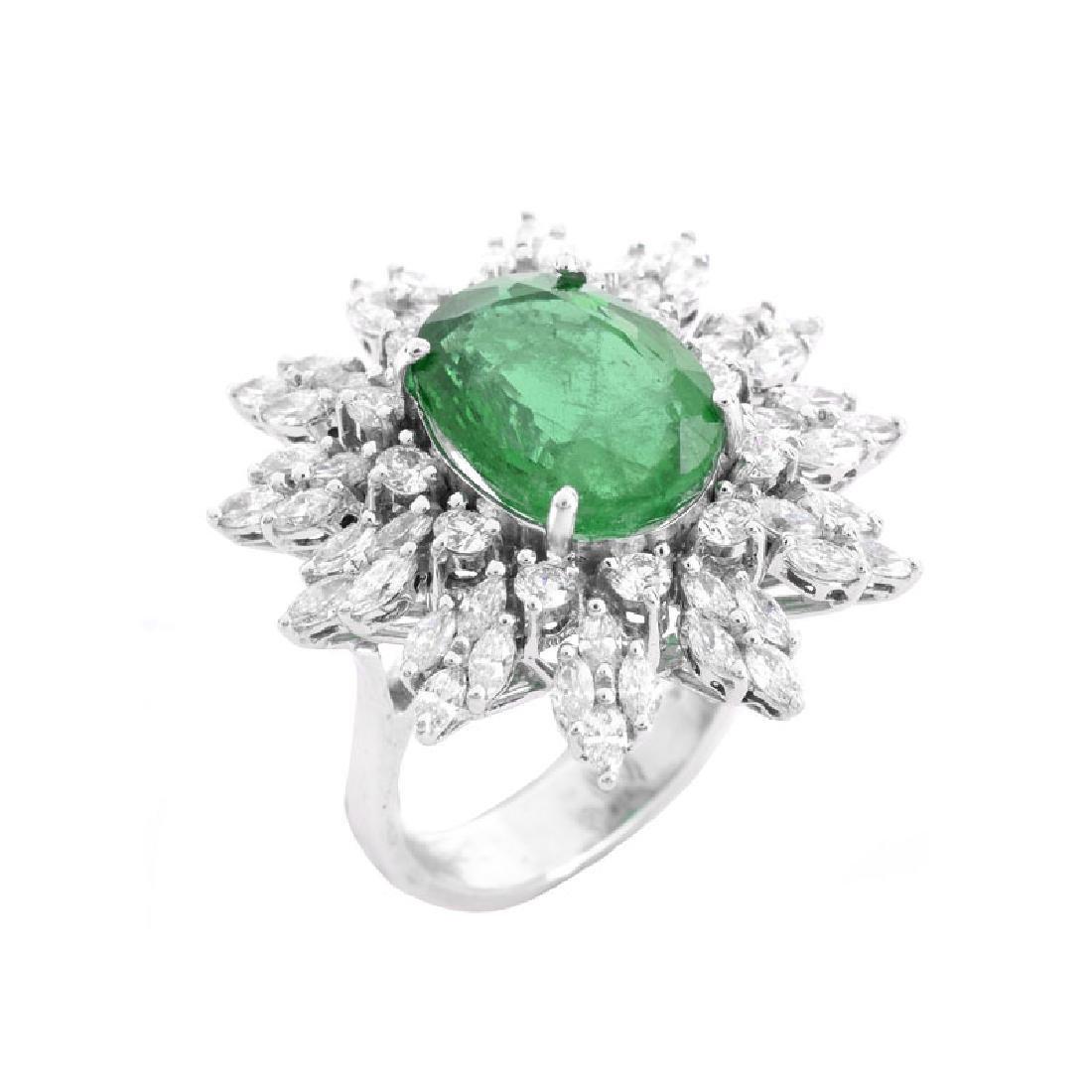 Approx. 5.30 Carat Oval Cut Emerald, 1.95 Carat TW
