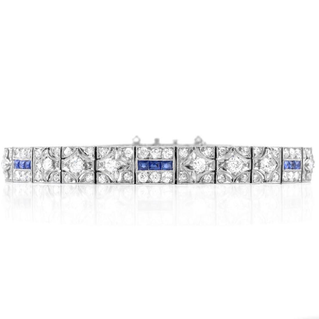 Art Deco Diamond, Sapphire and Platinum Bracelet.