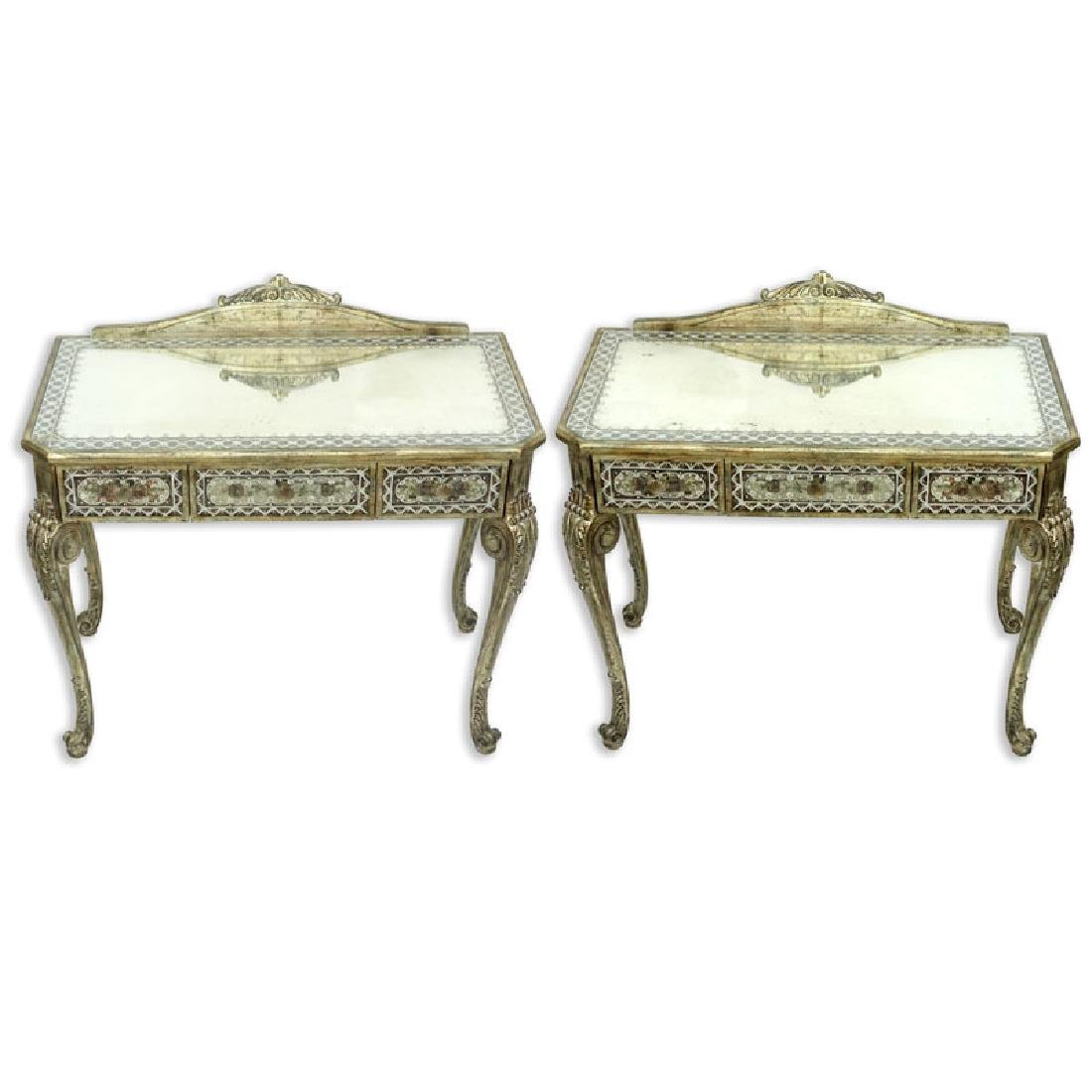 Pair of La Barge Venetian Style Mirrored, Painted, and