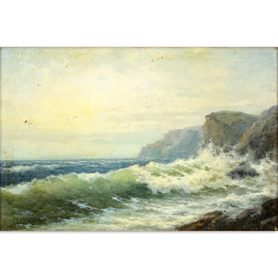 "Early 20th Century Oil on artist board ""Seascape""."