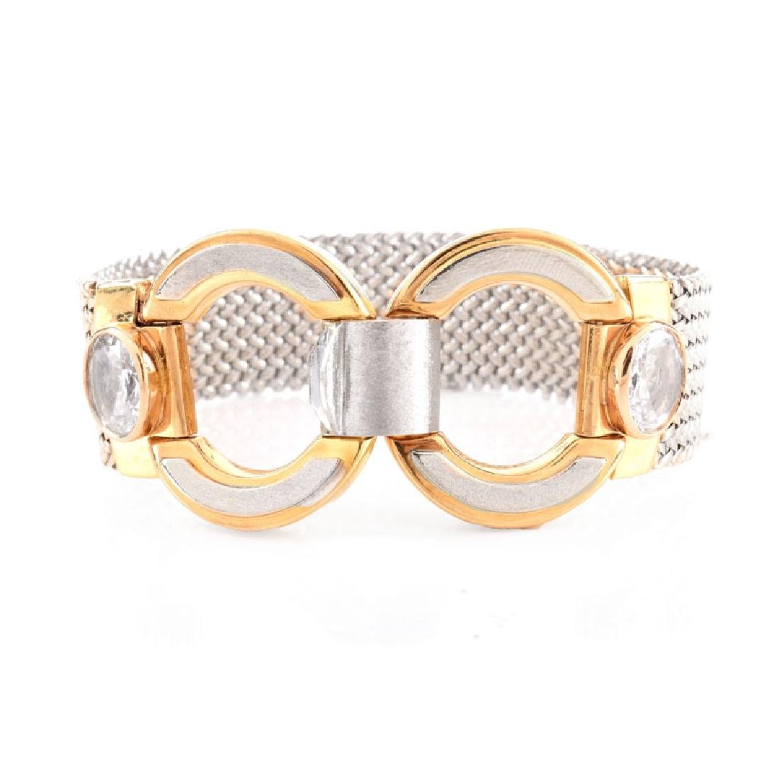 Vintage Italian 18 Karat Yellow and White Gold Mesh