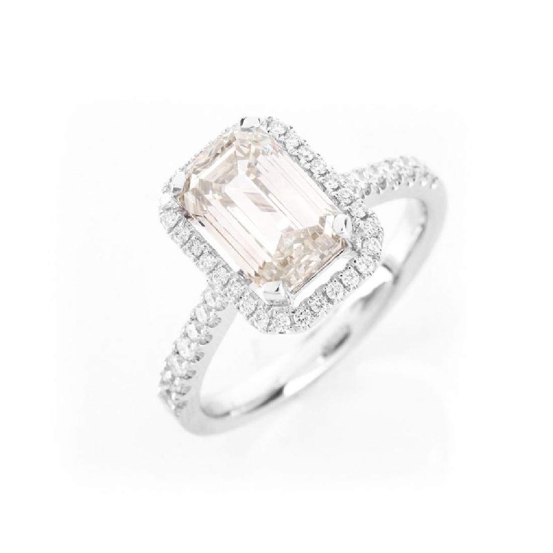 Approx. 2.10 Carat Emerald Cut Diamond and 18 Karat