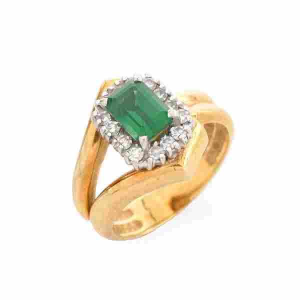 Vintage Emerald, Diamond and 14 Karat Yellow Gold Ring.