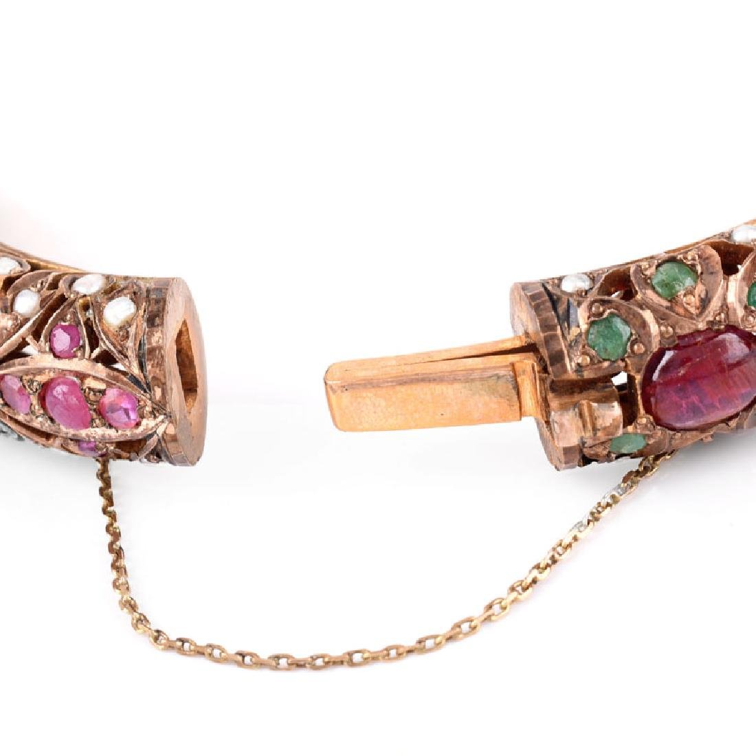 Vintage Ruby, Emerald, Pearl, Silver and Gold-filled - 4