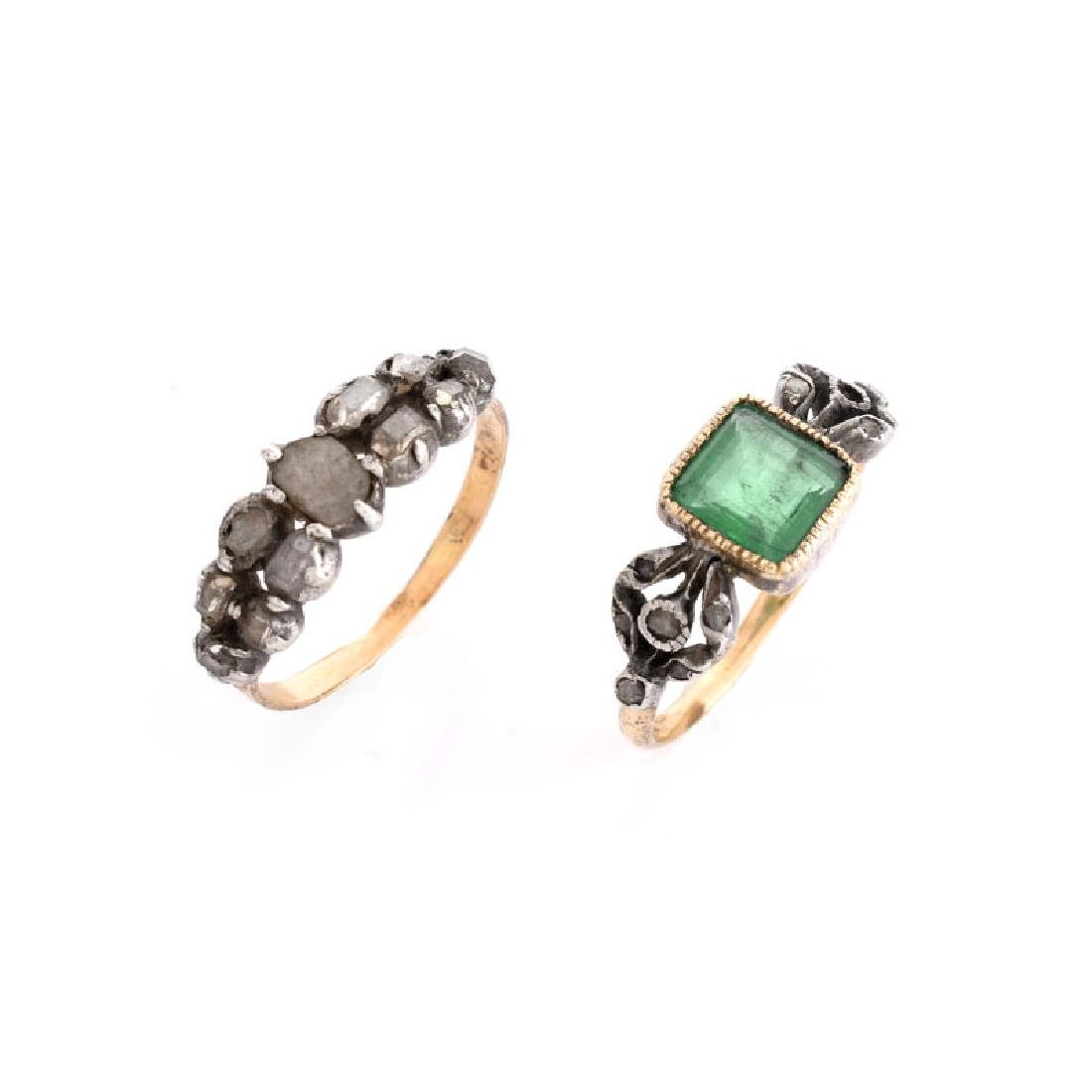 Two (2) Antique Rings Including an Emerald and 14 Karat