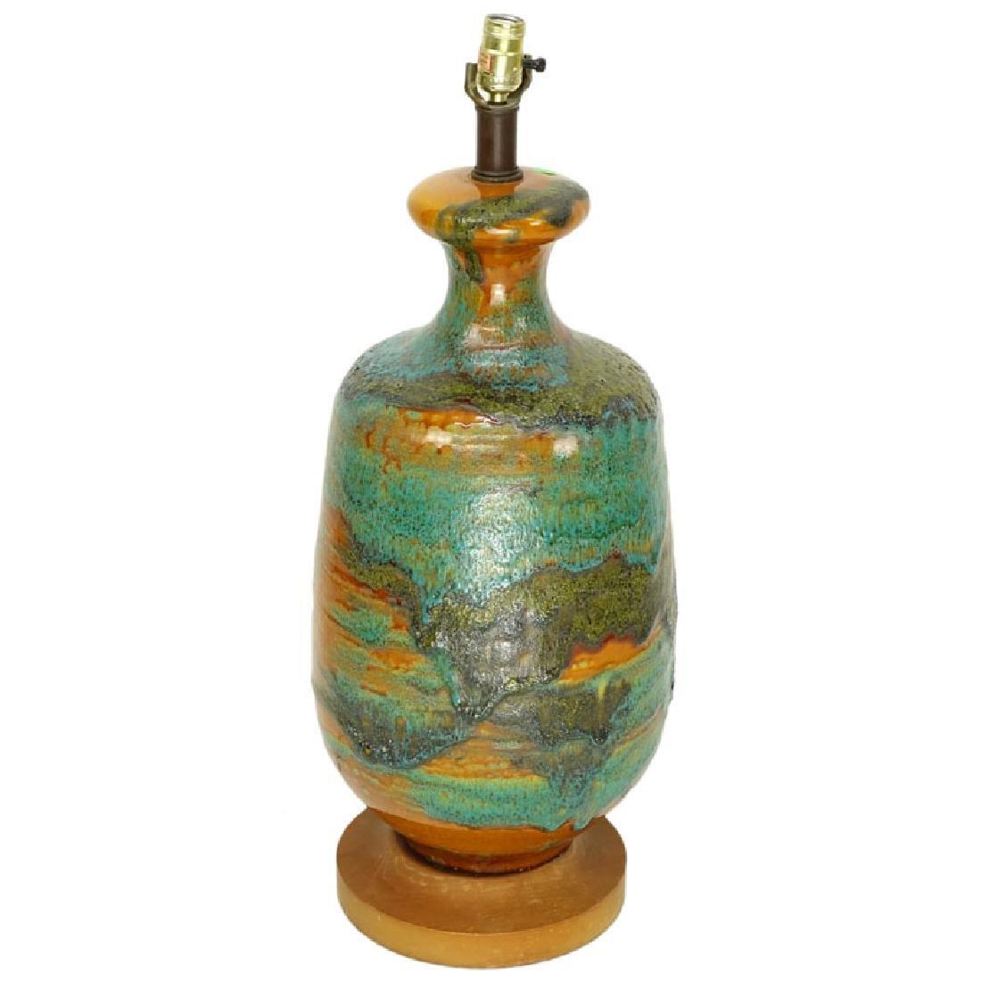 Mid Century Modern Volcanic Glaze Pottery Lamp.