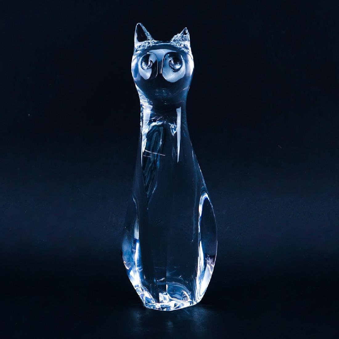 Baccarat Crystal Cat Figurine by Robert Rigot. Signed,