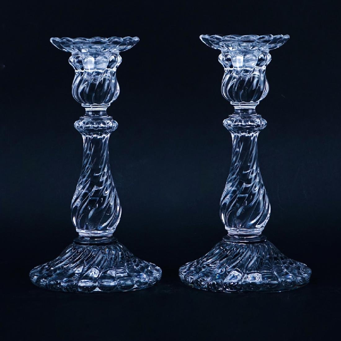 Pair of Baccarat Crystal Candlesticks. Signed. Good