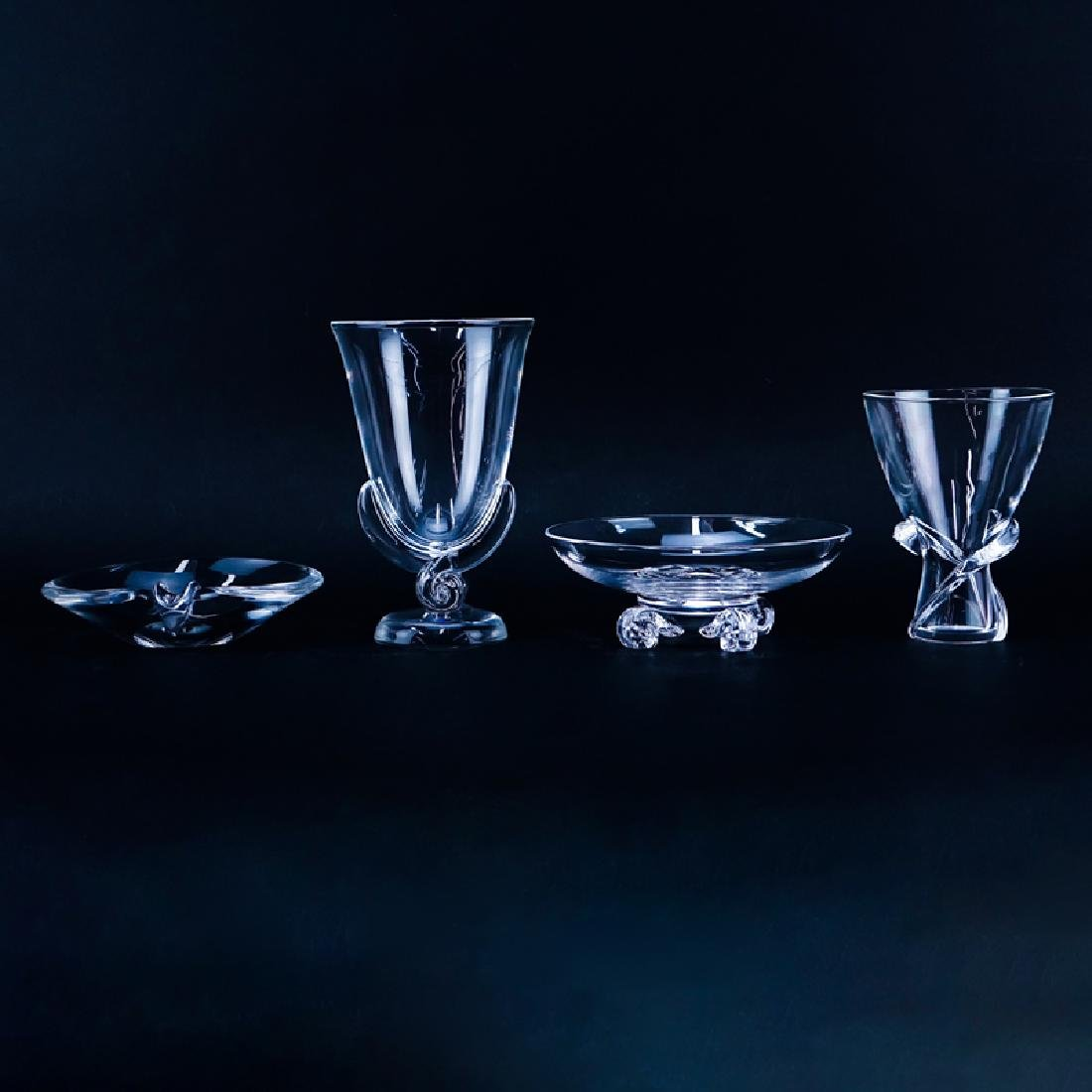 Four (4) Steuben Crystal Tableware. Includes: 2 vases,