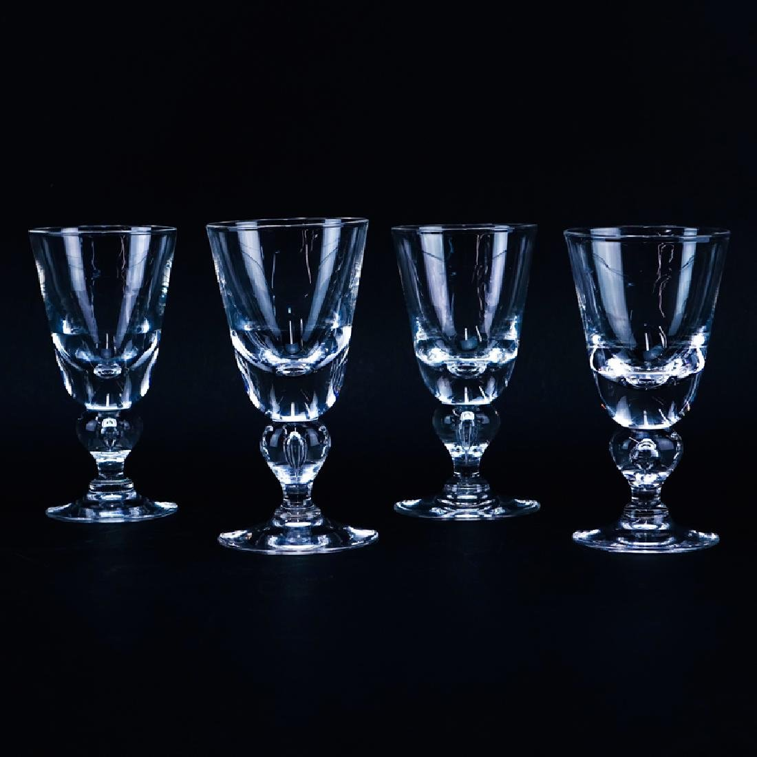 Four (4) Steuben Glass Goblets. Signed. Good condition.