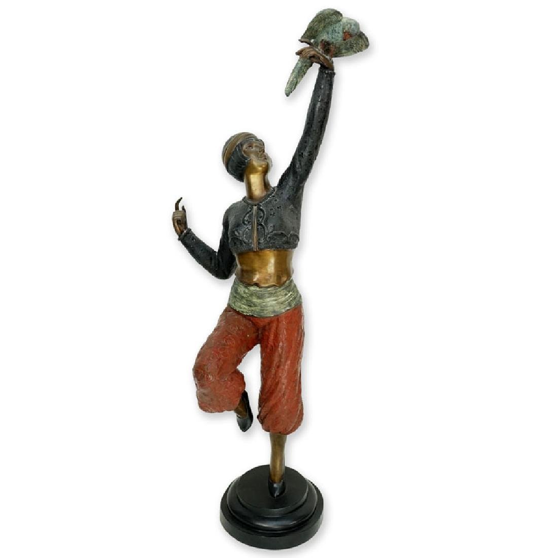 Large Art Deco style Patinated Bronze Sculpture, Dancer