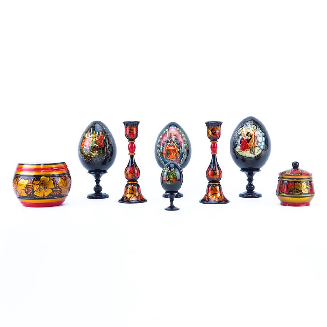 Collection of Eight (8) Russian Handpainted Lacquer