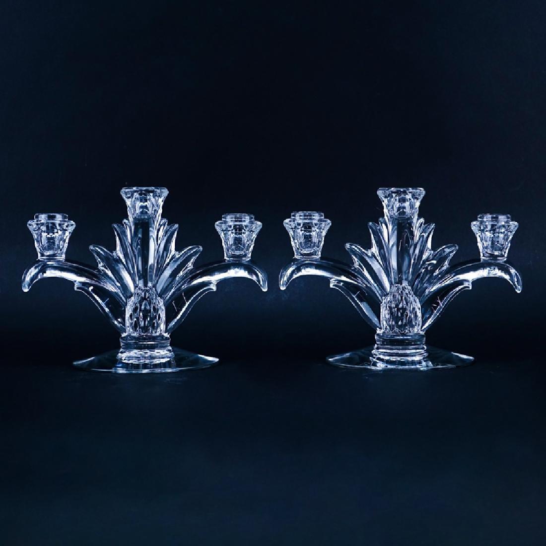 Pair of Heisey Plantation Three Light Glass Candelabra