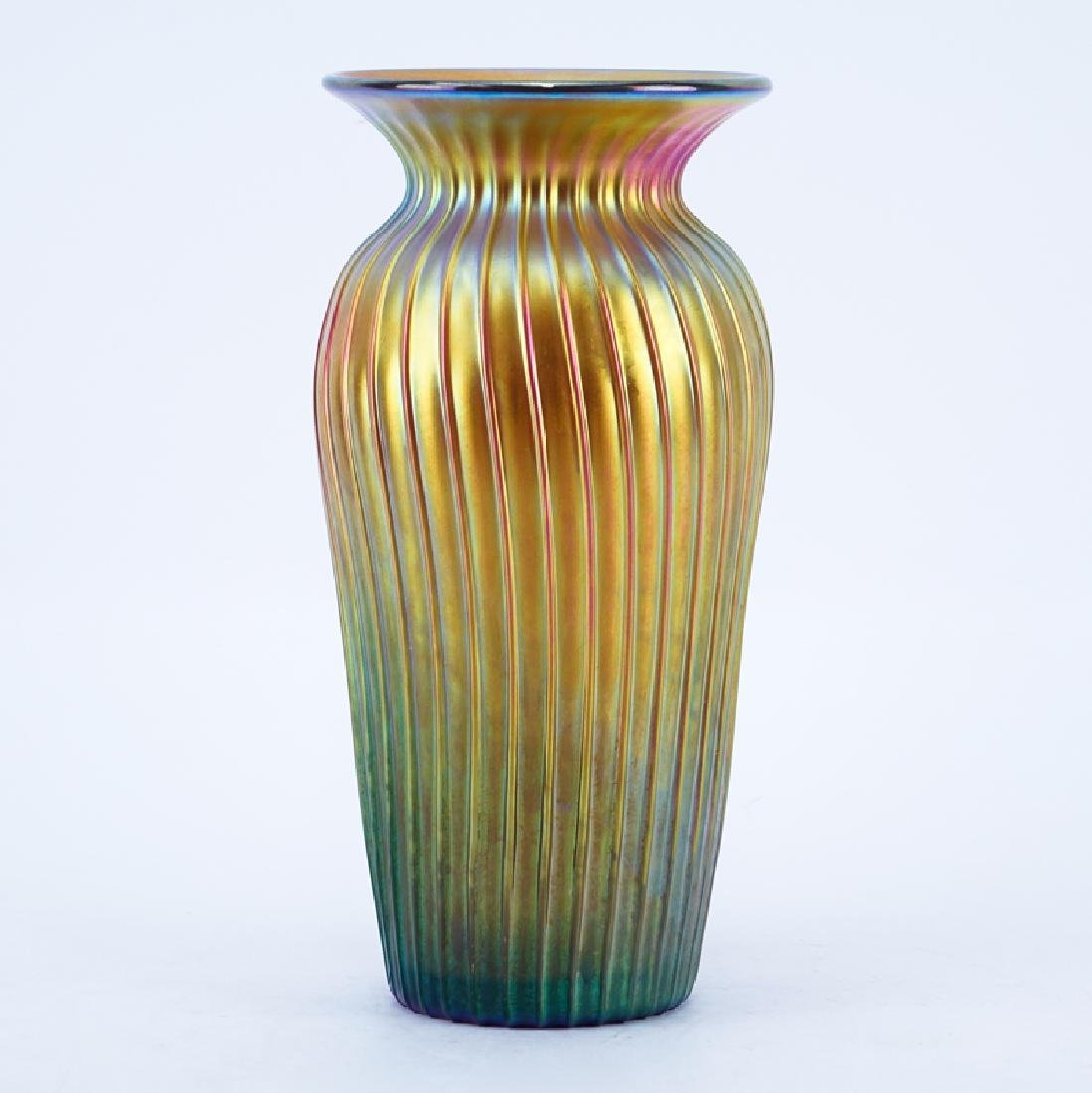 Tiffany Style Gold Favrile Art Glass Vase, 20th