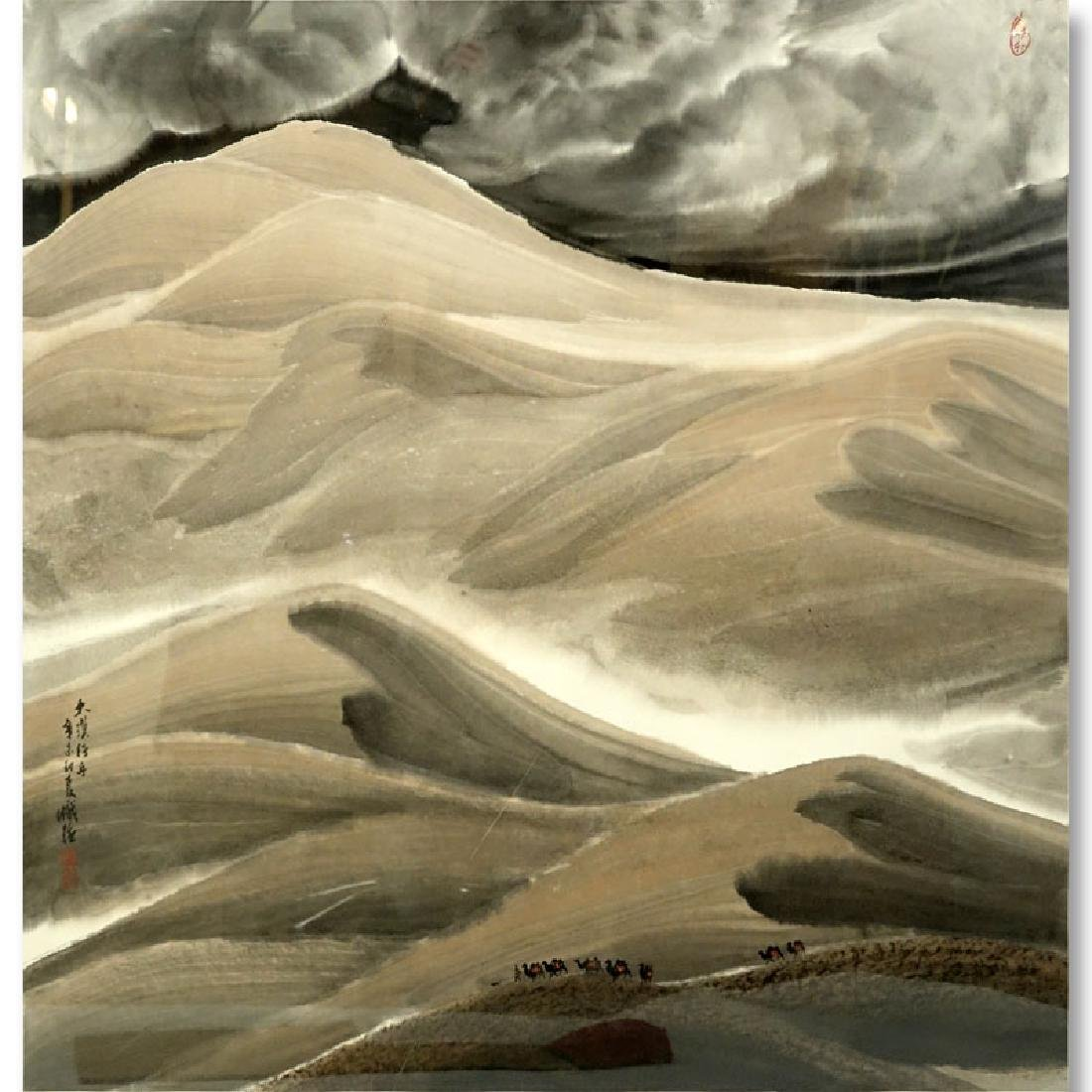 20th Century Chinese Watercolor Scroll Painting, Silk