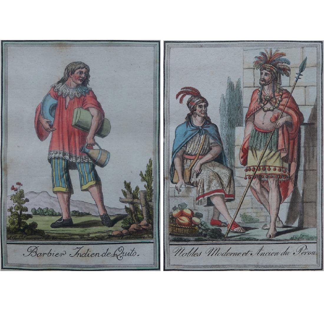 Pair of Antique Hand Colored Engravings. Includes: