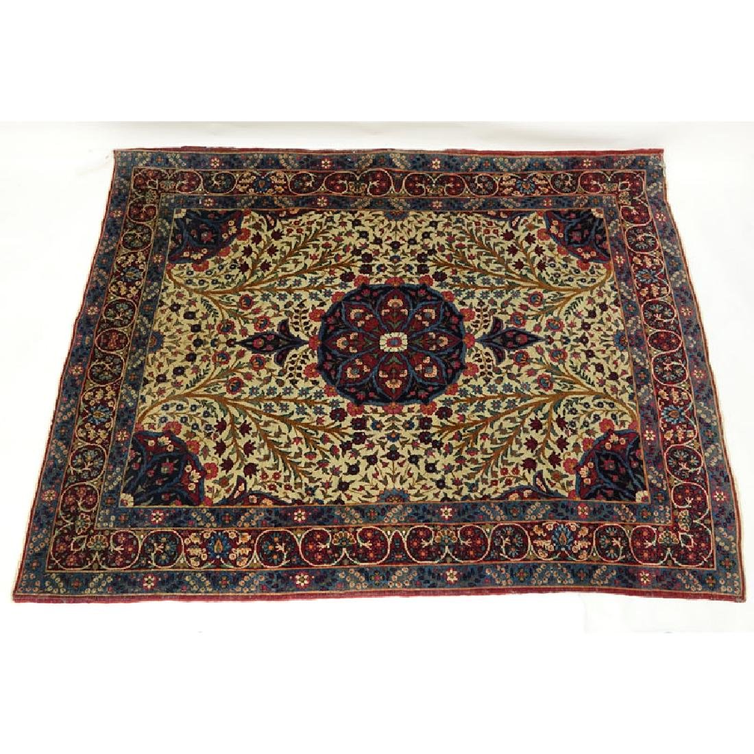 Semi Antique Persian Rug, Floral with Red/ Blue/ and