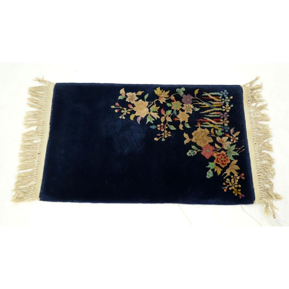 Chinese Nichols Rug, Navy Blue with Flowers. Needs
