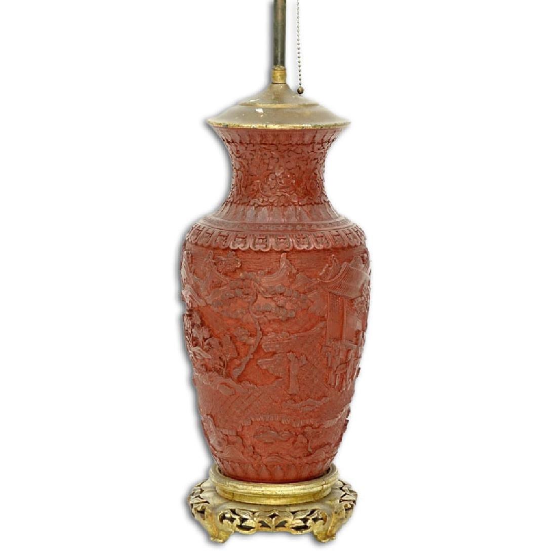 Large Chinese Cinnabar Baluster Vase Mounted as Lamp