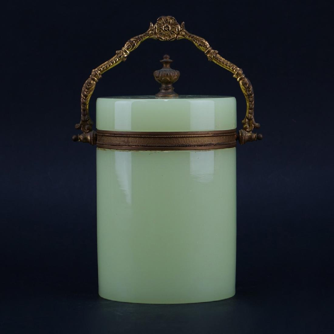 Art Nouveau French Green Opaline Glass and Brass