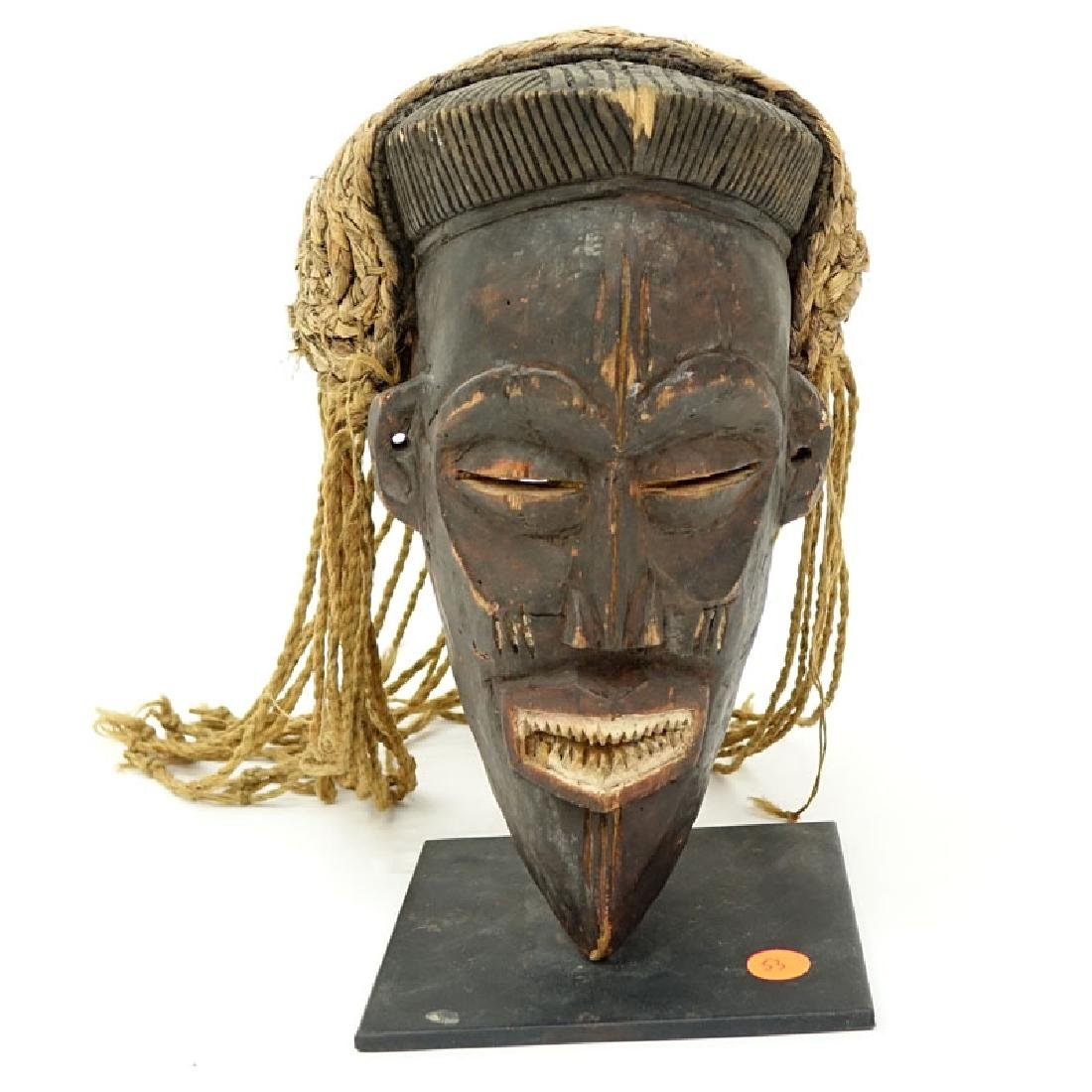 Antique or Later African Chokwe Mask with Headdress on