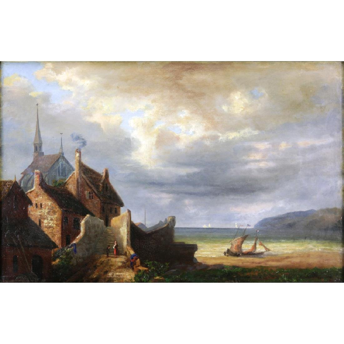 "19th Century French School Oil On Canvas ""Coastal"