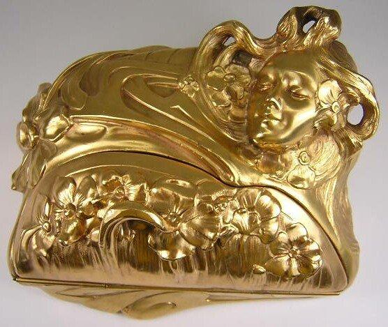 9: F. Madurell Art Nouveau Gilded Jewelry Casket w/ Hig