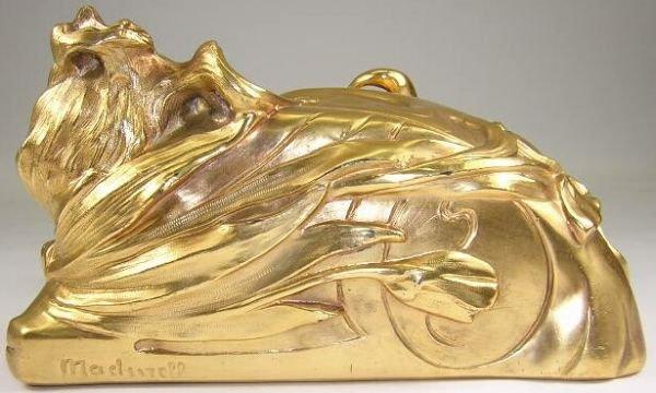 9: F. Madurell Art Nouveau Gilded Jewelry Casket w/ Hig - 5