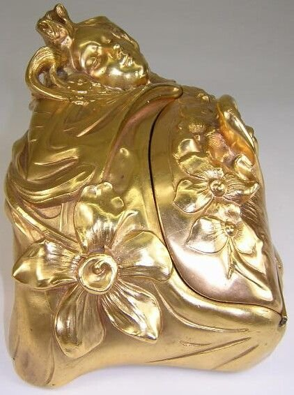 9: F. Madurell Art Nouveau Gilded Jewelry Casket w/ Hig - 7
