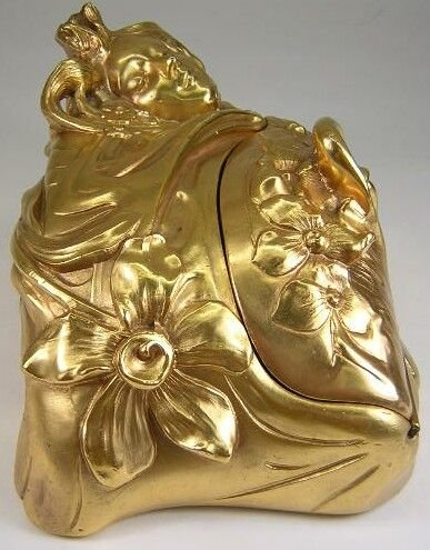 9: F. Madurell Art Nouveau Gilded Jewelry Casket w/ Hig - 8