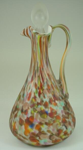 513: End of Day Art Glass Cruet. Unsigned. Good to Very