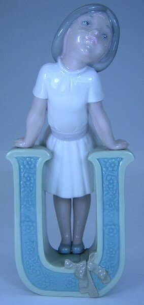 521: Lladro #5149 U is for Ursula Blue Backstamp Signed