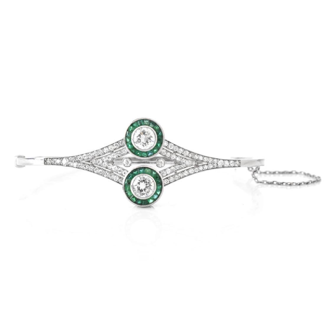 Art Deco style Approx. 2.50 Carat TW Diamond, Emerald