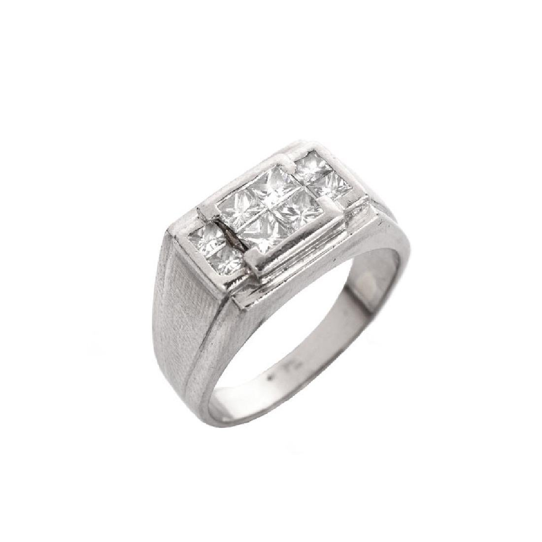 Man's Vintage Approx. 1.0 Carat Square Cut Diamond and