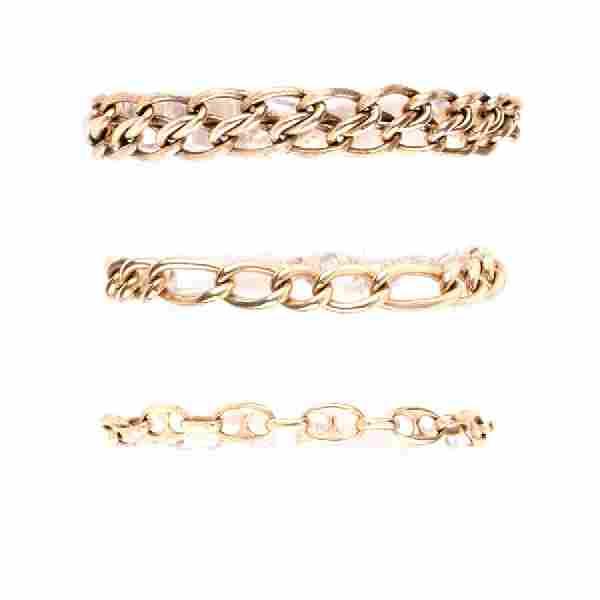 Three (3) Vintage 14 Karat Yellow Gold Link Bracelets.
