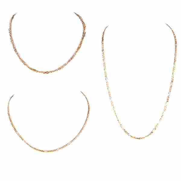 Three (3) Vintage 14 Karat Yellow Gold Link Necklaces.