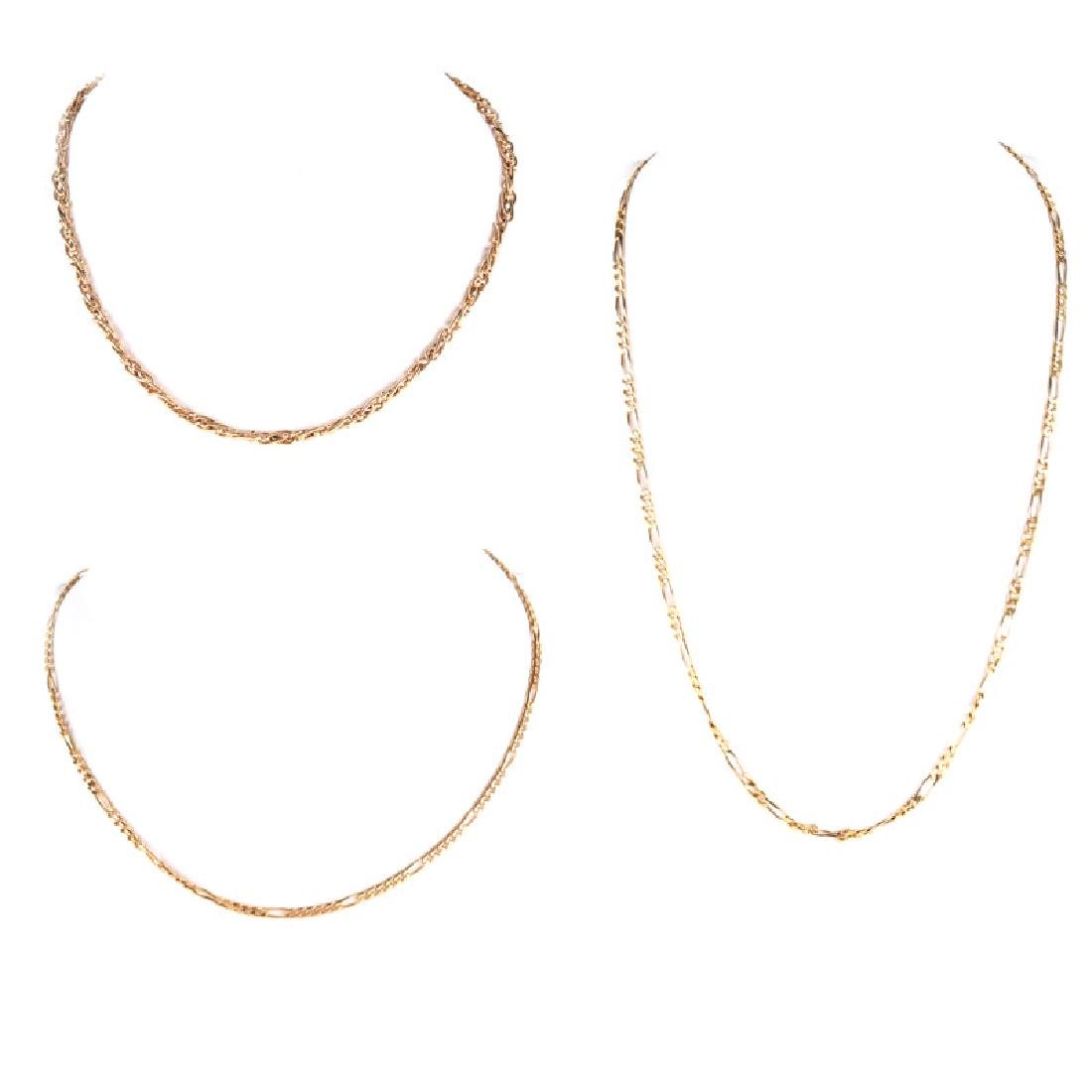 Three (3) Vintage 14 Karat Yellow Gold Link Necklaces.