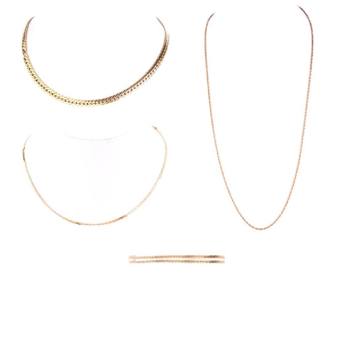Three (3) Vintage 14 Karat Yellow Gold Link Necklaces