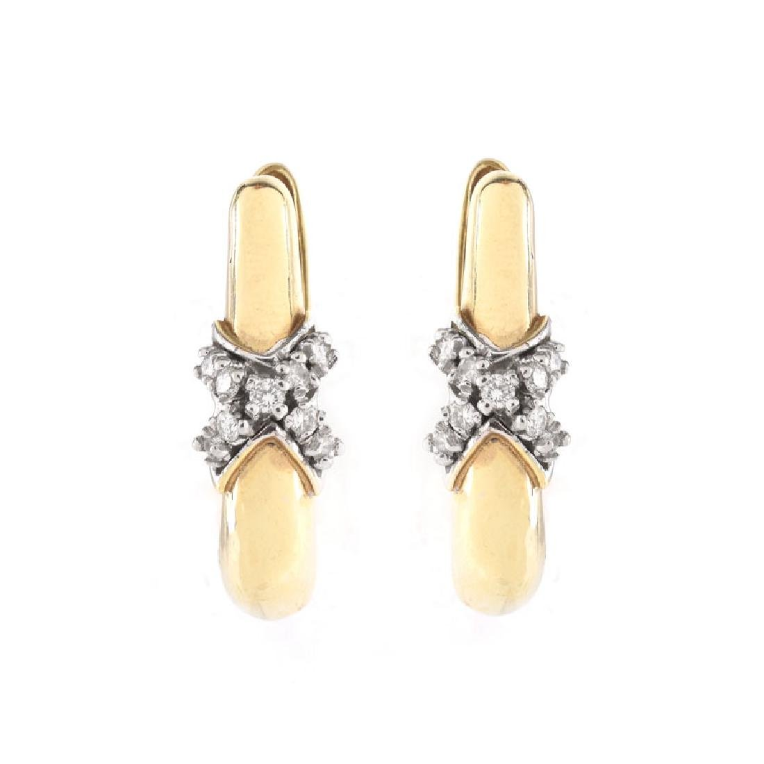 Vintage 14 Karat Yellow Gold and Diamond Earrings.