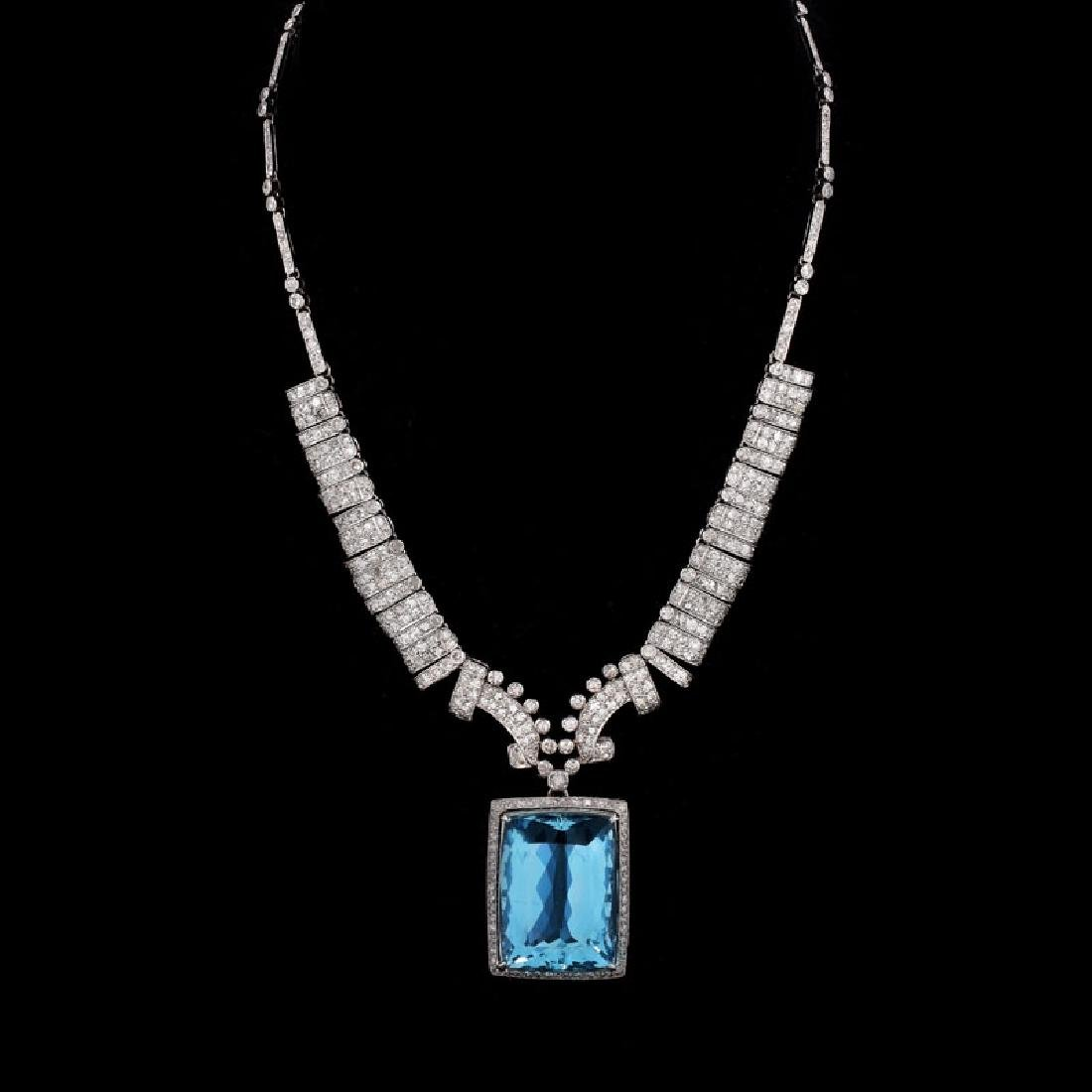 Art Deco Large Aquamarine, Diamond and Platinum Pendant